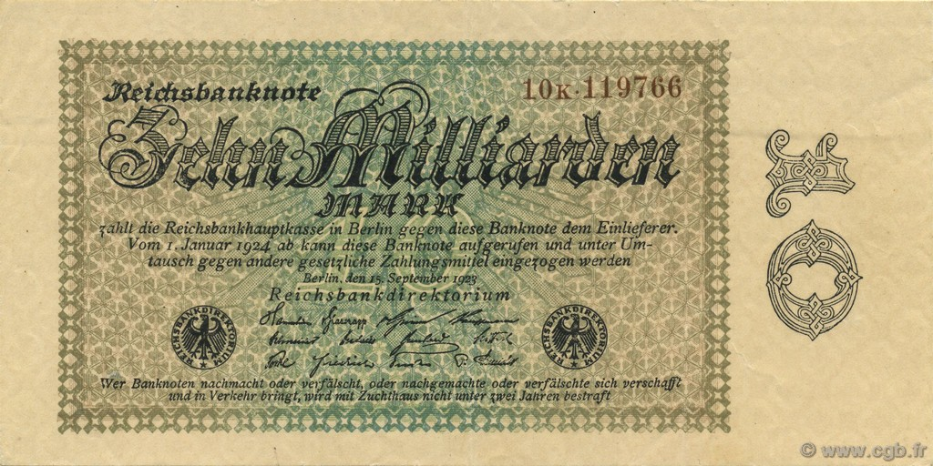 10 Milliards Mark ALLEMAGNE  1923 P.116b SUP