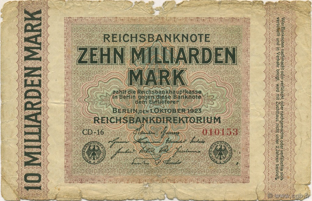 10 Milliards Mark ALLEMAGNE  1923 P.117a B