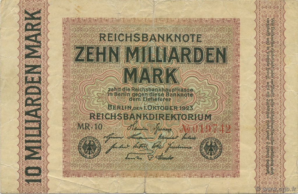 10 Milliards Mark ALLEMAGNE  1923 P.117b TB+