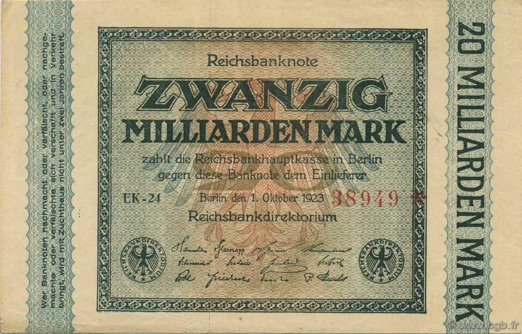 20 Milliards Mark ALLEMAGNE  1923 P.118a SUP+