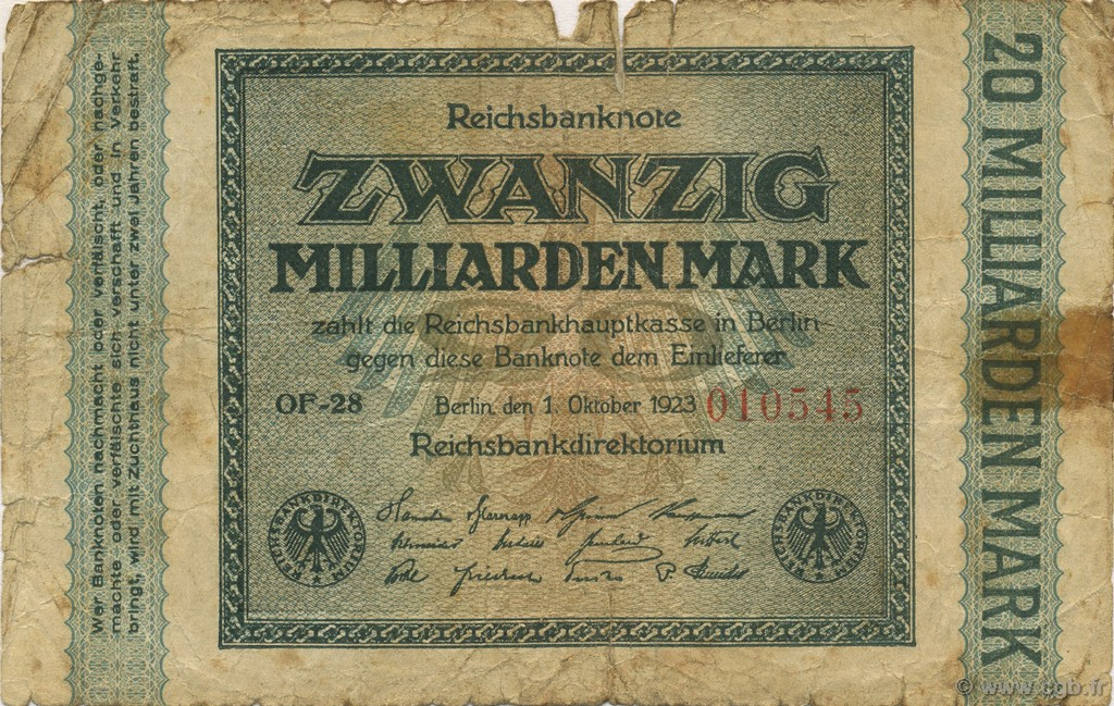 20 Milliards Mark ALLEMAGNE  1923 P.118a B