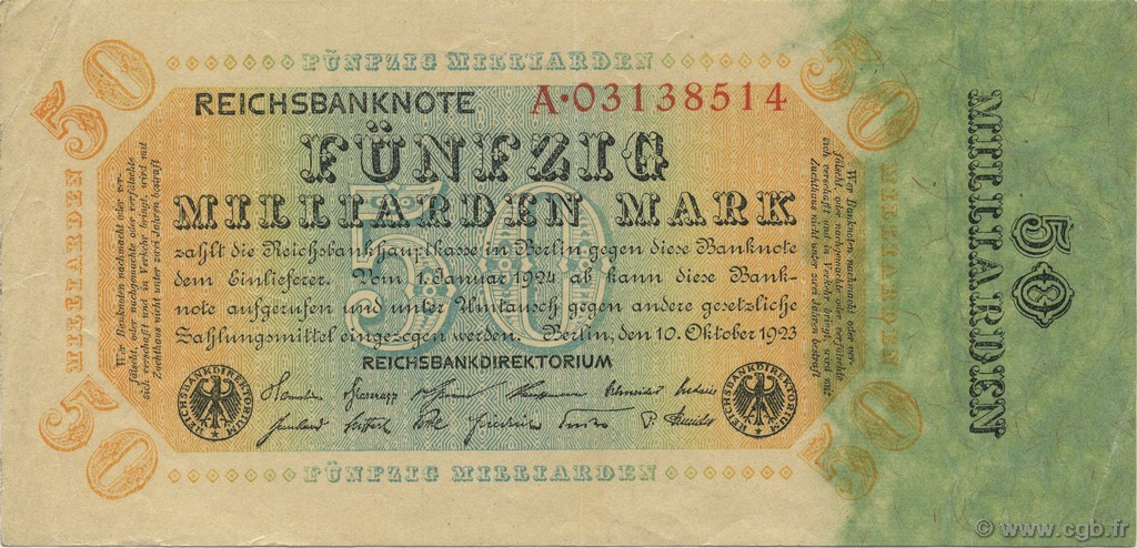50 Milliards Mark ALLEMAGNE  1923 P.119a SUP