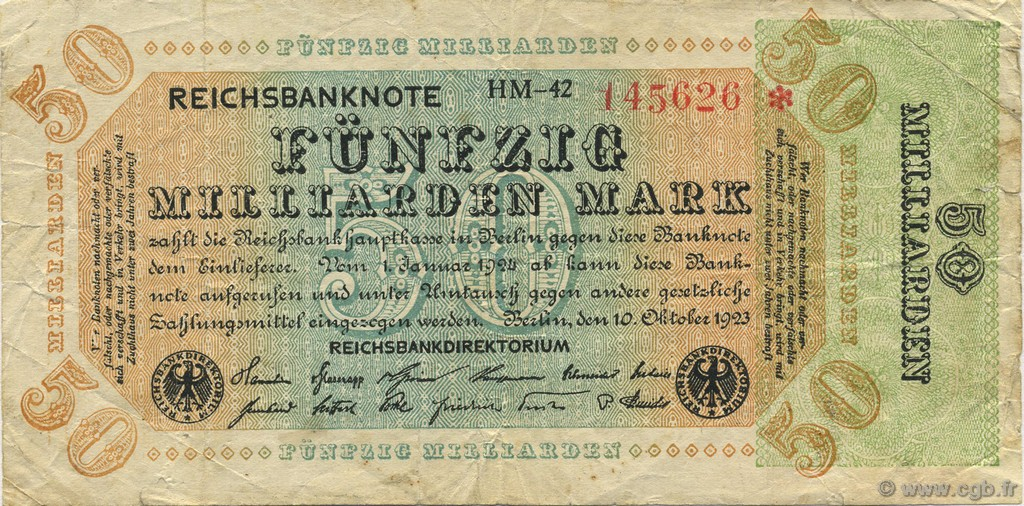 50 Milliards Mark ALLEMAGNE  1923 P.120a TB