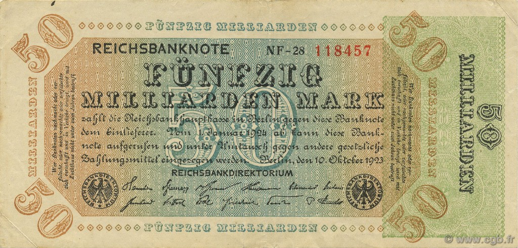 50 Milliards Mark ALLEMAGNE  1923 P.120a TTB+
