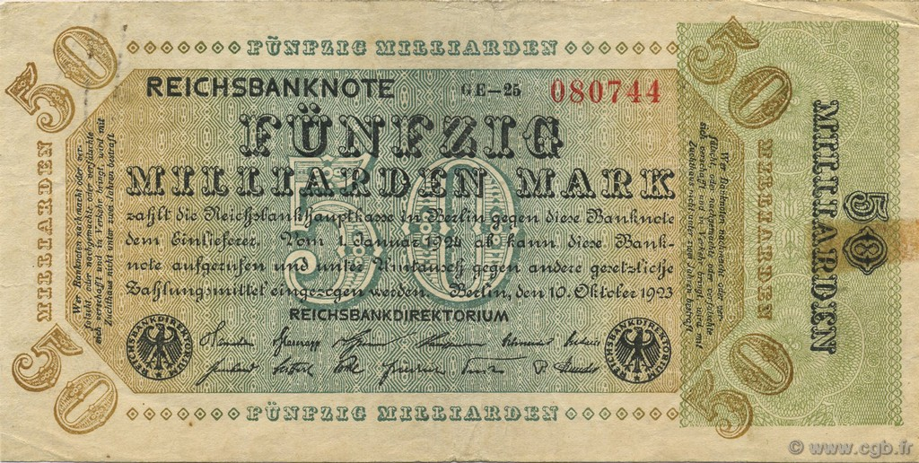 50 Milliards Mark ALLEMAGNE  1923 P.120b TB