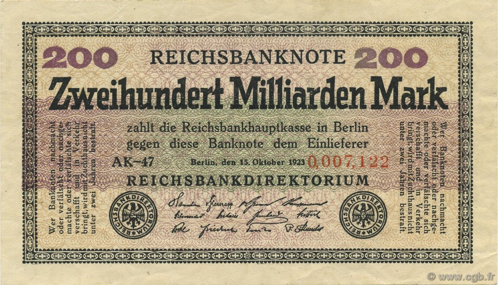 200 Milliards Mark ALLEMAGNE  1923 P.121b SUP