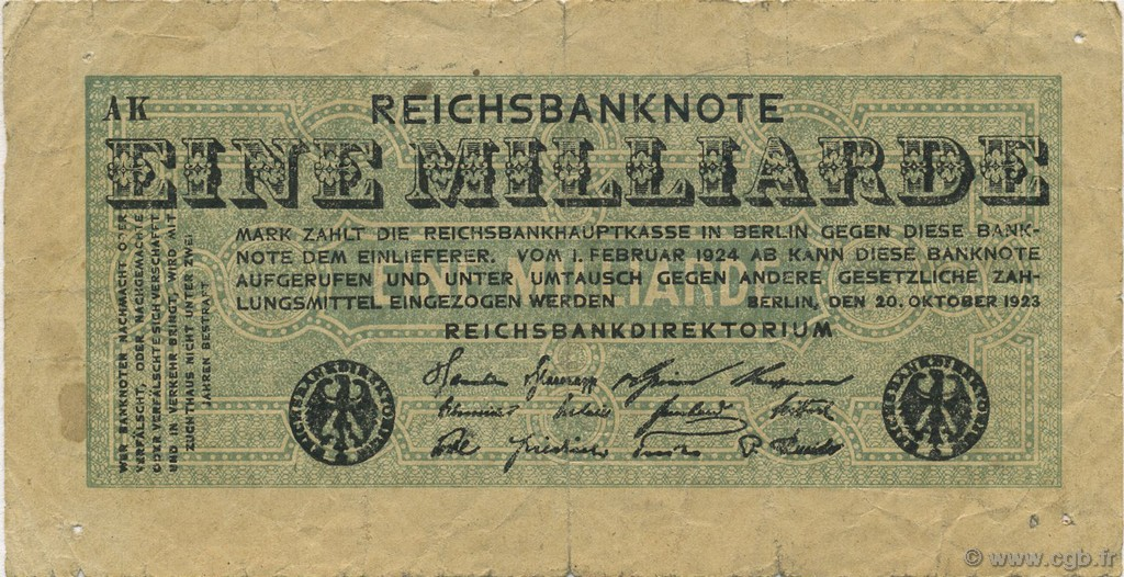 1 Milliard Mark ALLEMAGNE  1923 P.122 TB
