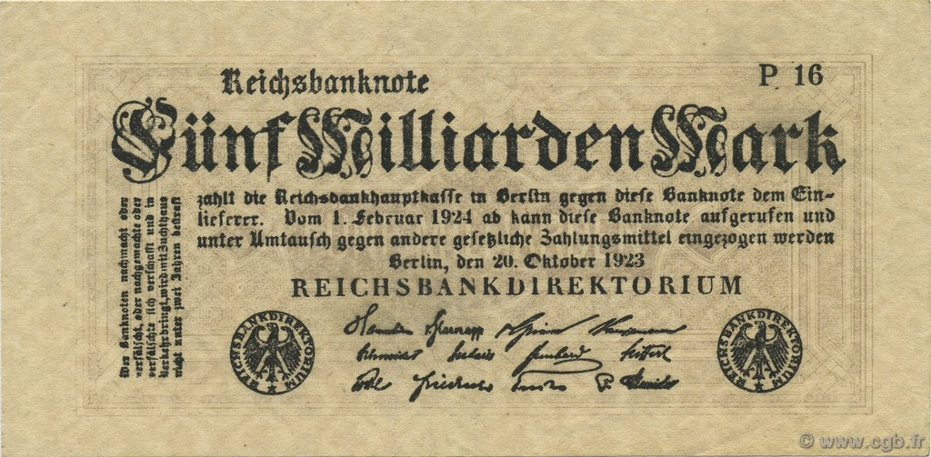 5 Milliards Mark ALLEMAGNE  1923 P.123b SUP