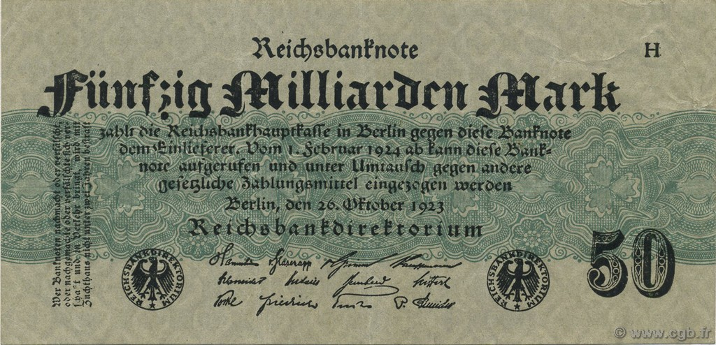 50 Milliards Mark GERMANY  1923 P.125a