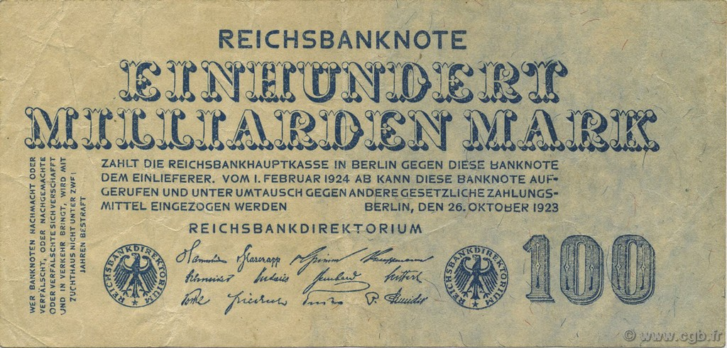 100 Milliards Mark ALLEMAGNE  1923 P.126 TTB