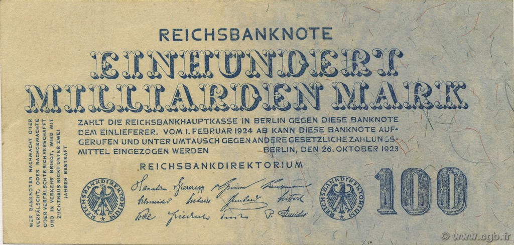 100 Milliards Mark ALLEMAGNE  1923 P.126 TTB+