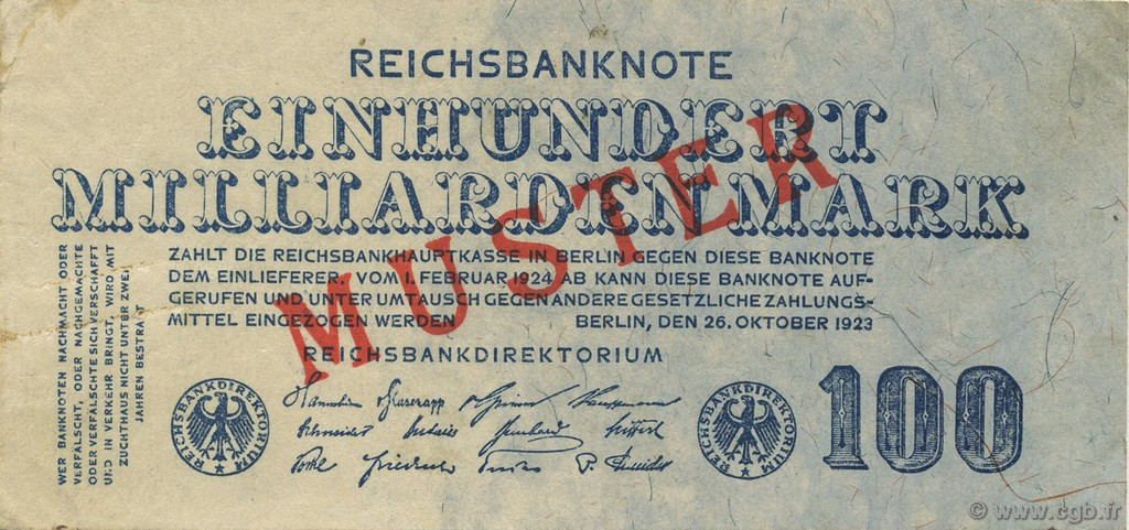 100 Milliards Mark ALLEMAGNE  1923 P.126 SUP+