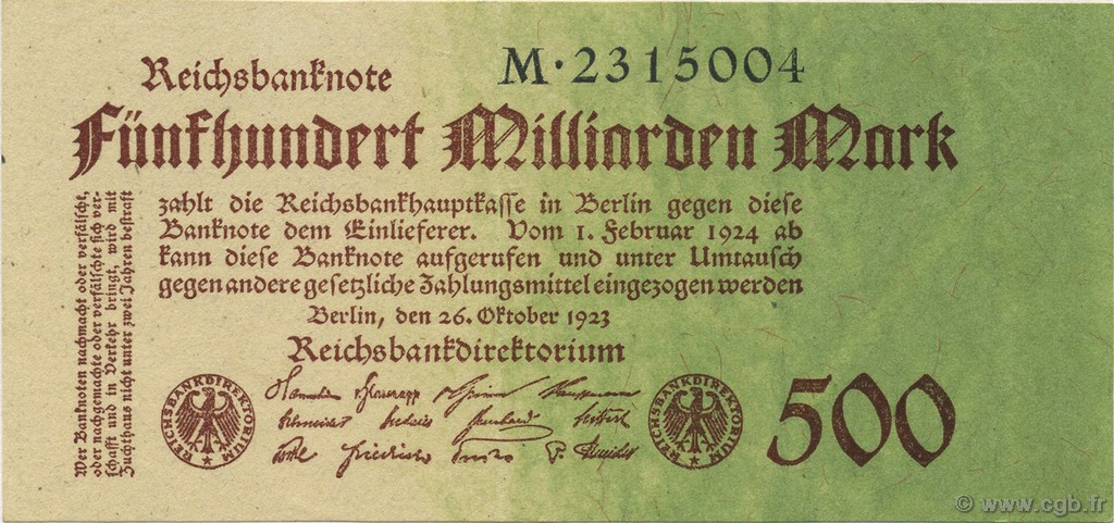 500 Milliard Mark ALLEMAGNE  1923 P.127a SUP+