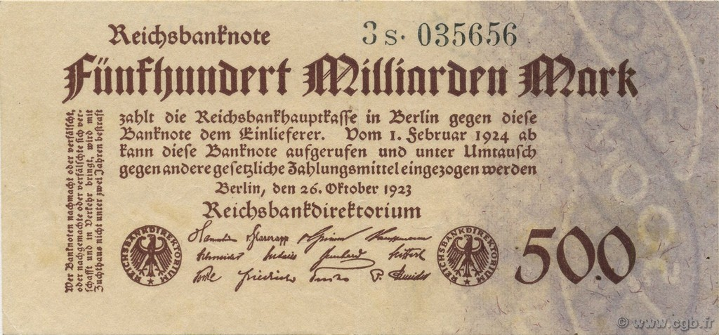 500 Milliard Mark ALLEMAGNE  1923 P.127b SUP+
