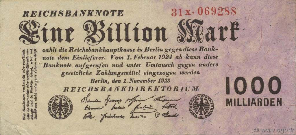 1 Billion Mark ALLEMAGNE  1923 P.129 pr.SUP