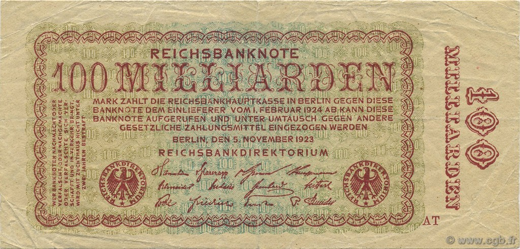 100 Milliards Mark ALLEMAGNE  1923 P.133 TTB