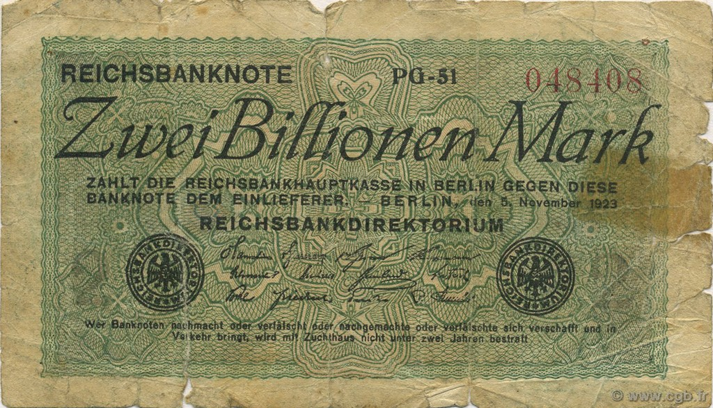 2 Billions Mark ALLEMAGNE  1923 P.135a B