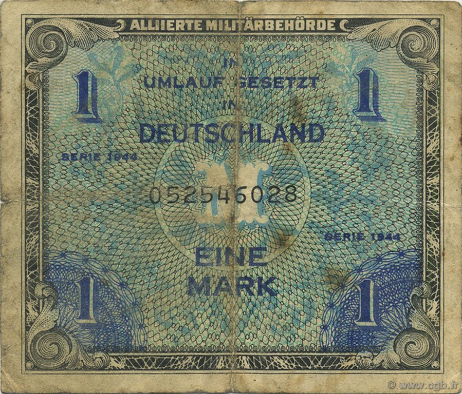1 Mark ALLEMAGNE  1944 P.192a TB