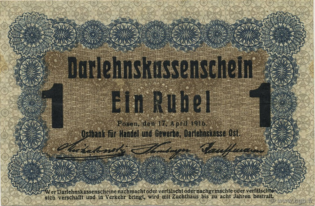 1 Rubel ALLEMAGNE  1916 P.R122c SUP