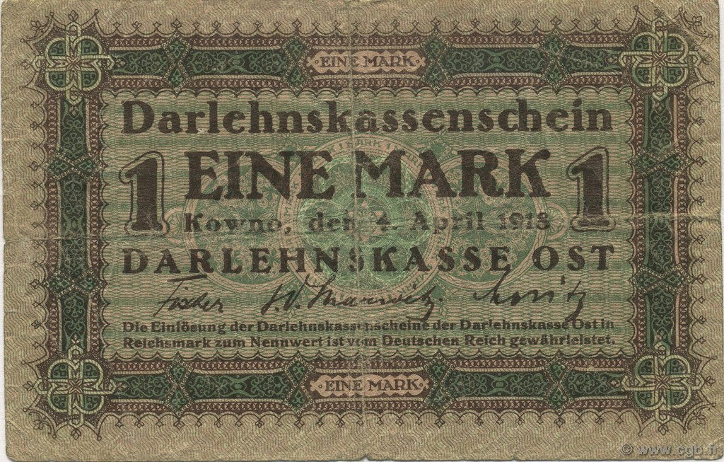 1 Mark ALLEMAGNE  1918 P.R128 TB