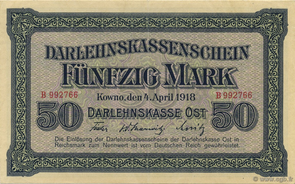 50 Mark ALLEMAGNE Kowno 1918 P.R132 SUP