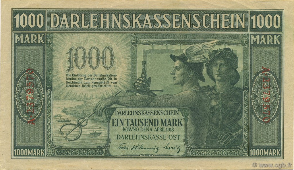 1000 Mark ALLEMAGNE  1918 P.R134b SUP+