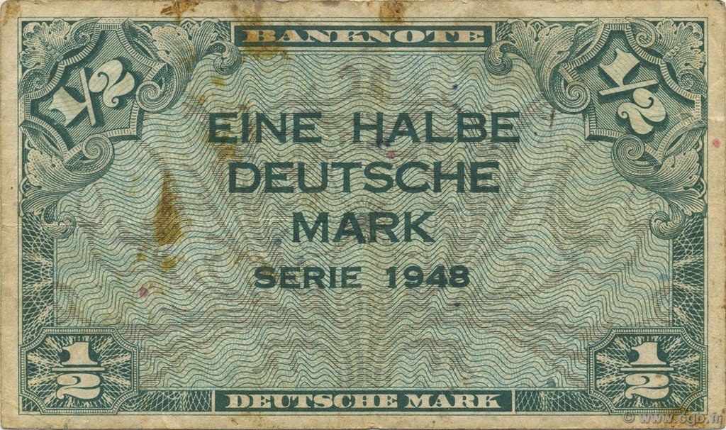 1/2 Deutsche Mark  GERMAN FEDERAL REPUBLIC  1948 P.01a MB
