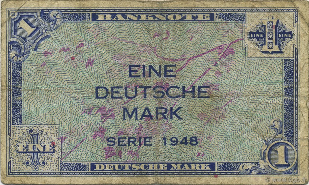 1 Deutsche Mark  GERMAN FEDERAL REPUBLIC  1948 P.02a F-