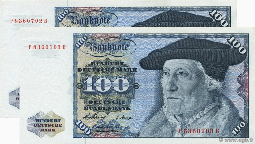 100 Deutsche Mark Consécutifs GERMAN FEDERAL REPUBLIC  1960 P.22a AU+