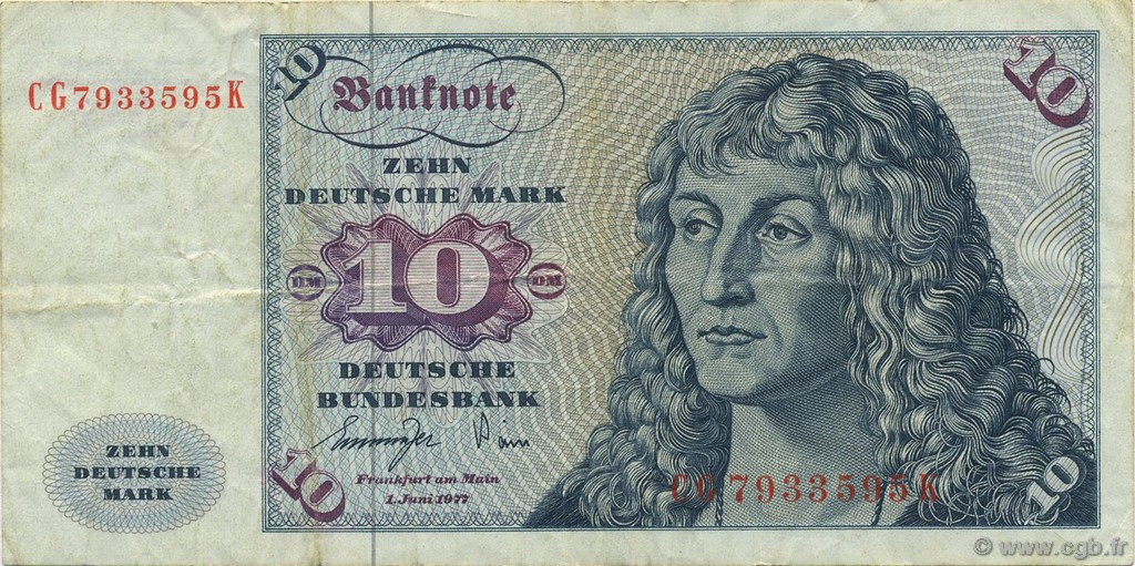 10 Deutsche Mark German Federal Republic 1977 P31b B612218 Banknotes