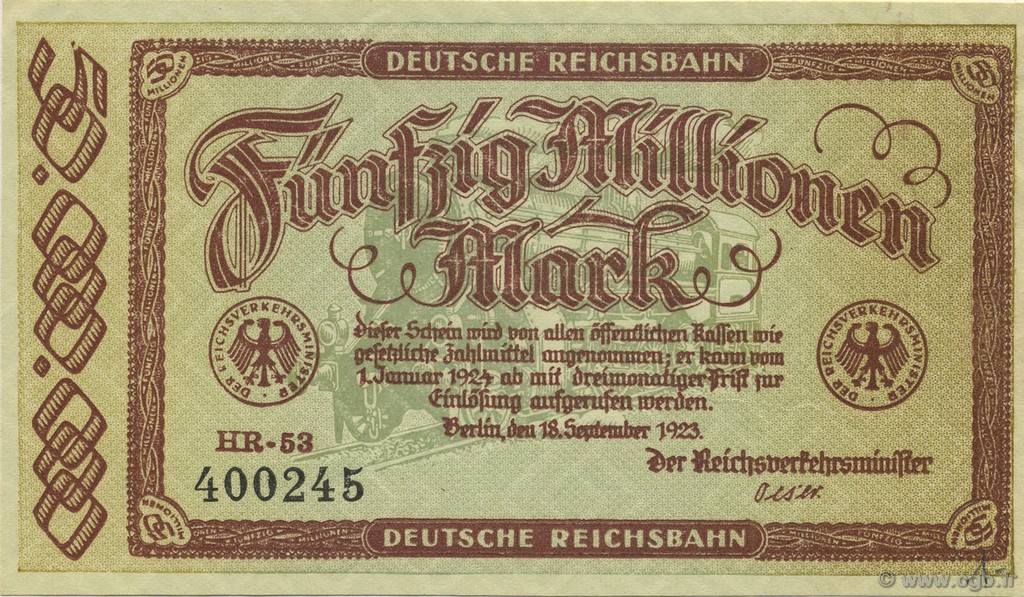 50 Millions Mark ALLEMAGNE  1923 PS.1016 pr.NEUF