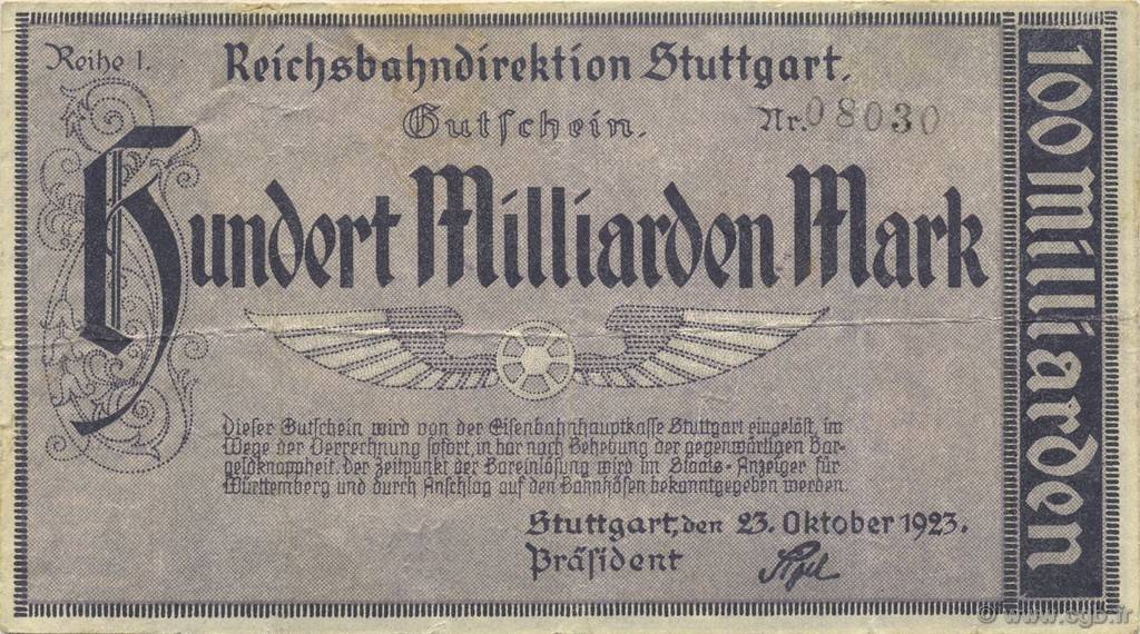 100 Milliards Mark ALLEMAGNE  1923 PS.1377 TTB