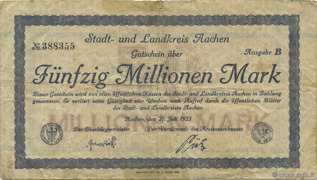 50 Millions Mark ALLEMAGNE  1923  TB