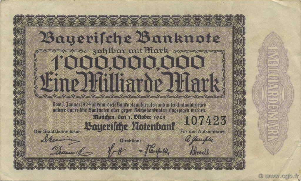 1 Milliard Mark ALLEMAGNE  1923 PS.0936 TTB+