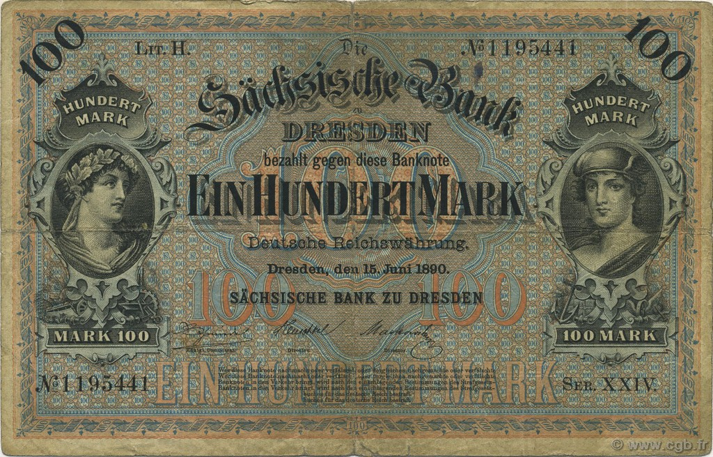 100 Mark ALLEMAGNE  1890 PS.0952a B+