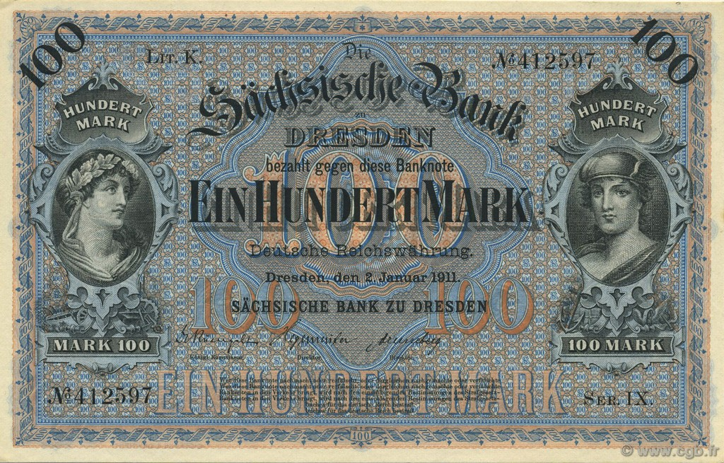 100 Mark ALLEMAGNE  1911 PS.0952b pr.NEUF