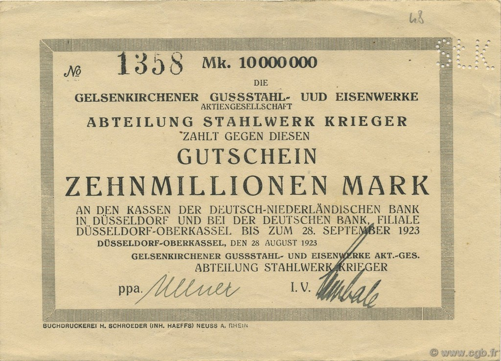 10 Millions Mark ALLEMAGNE  1923  SUP