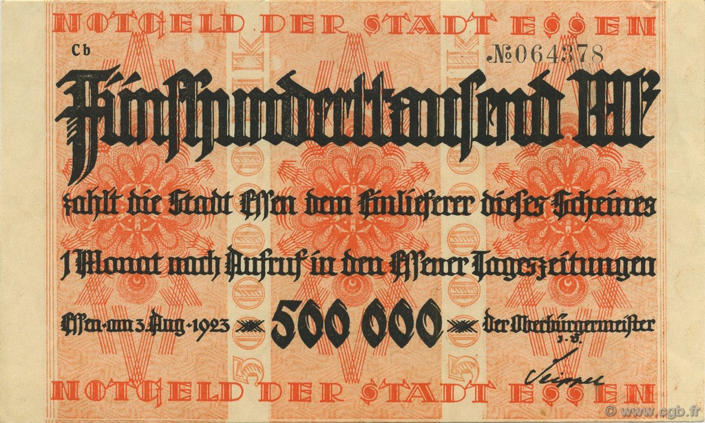 500000 Mark ALLEMAGNE Essen 1923  SUP