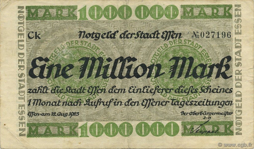 1 Million Mark ALLEMAGNE Essen 1923  TTB