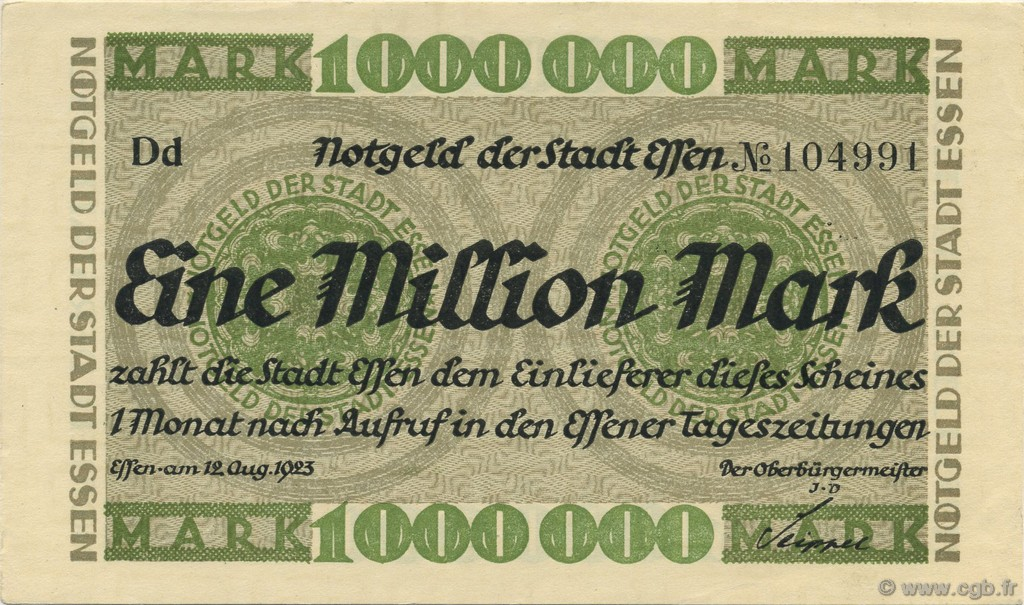 1 Million Mark ALLEMAGNE  1923  pr.NEUF