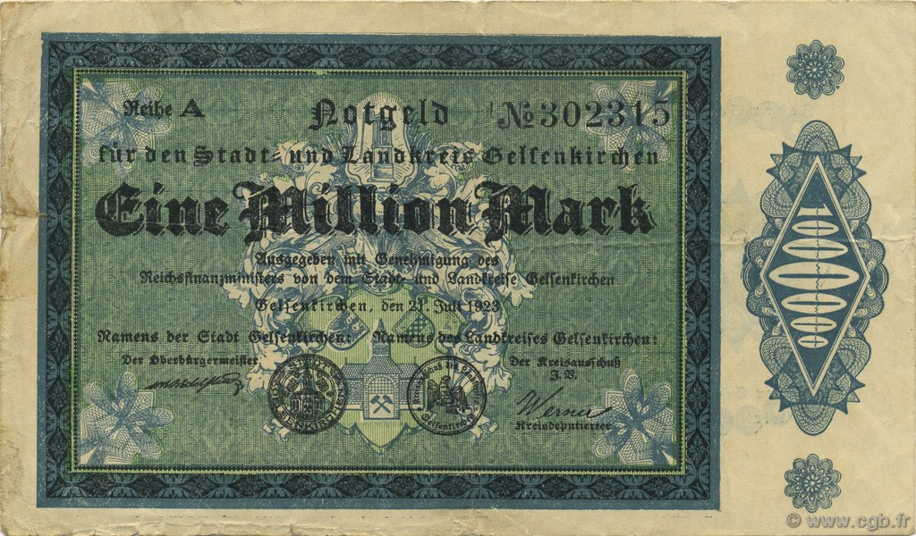 1 Million Mark ALLEMAGNE  1923  TB+