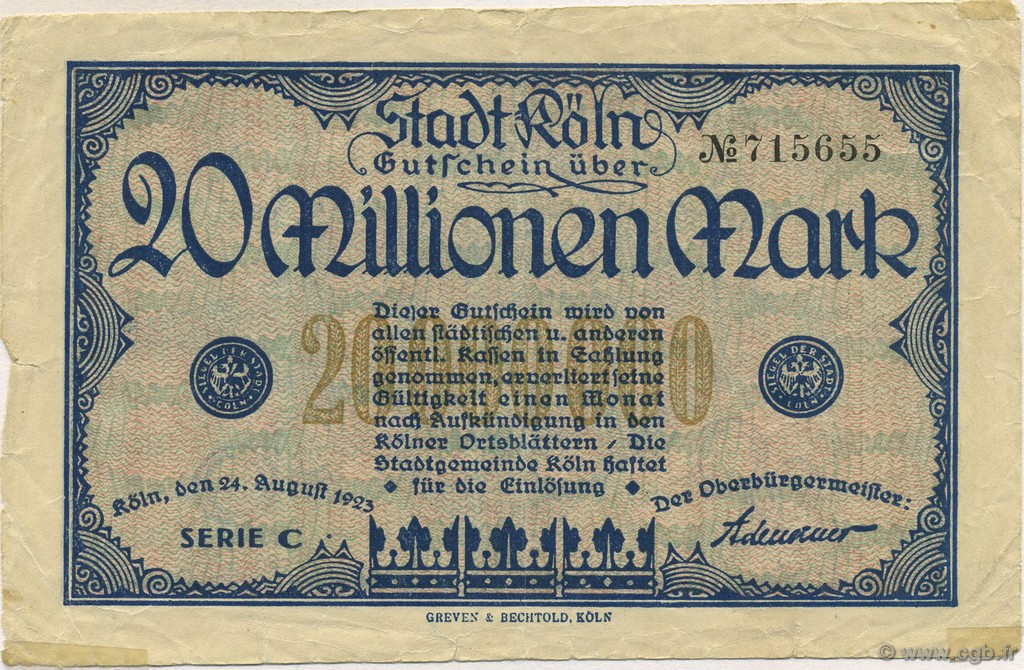 20 Millions Mark ALLEMAGNE  1923  TB+