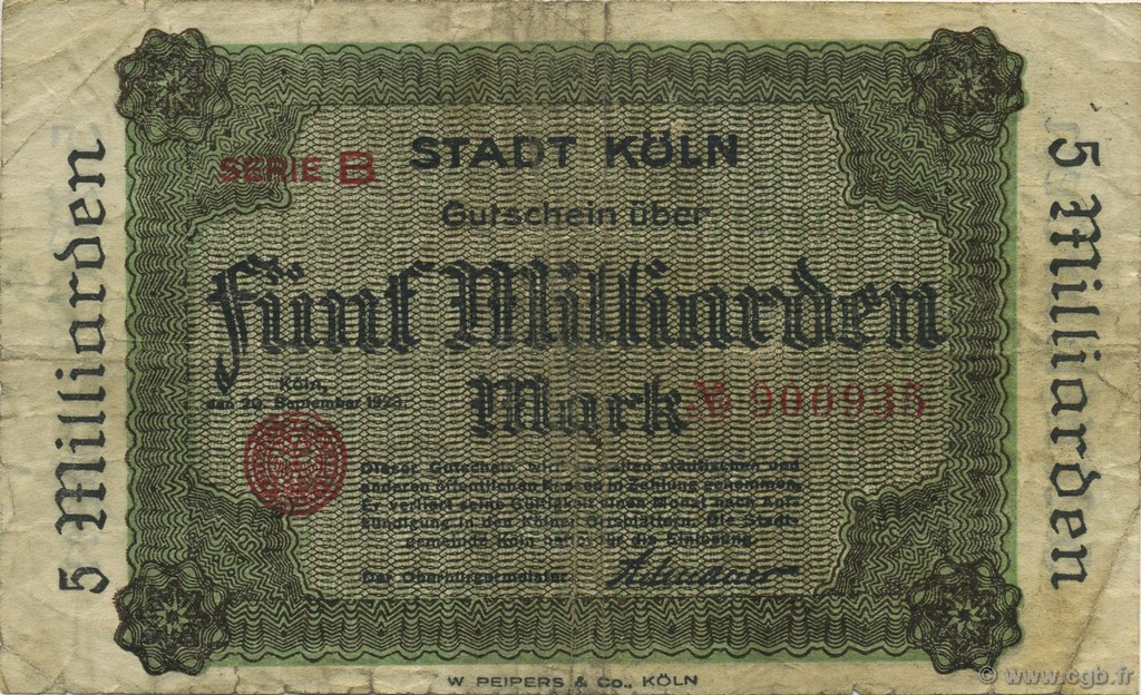 5 Milliards Mark ALLEMAGNE Köln 1923  TB