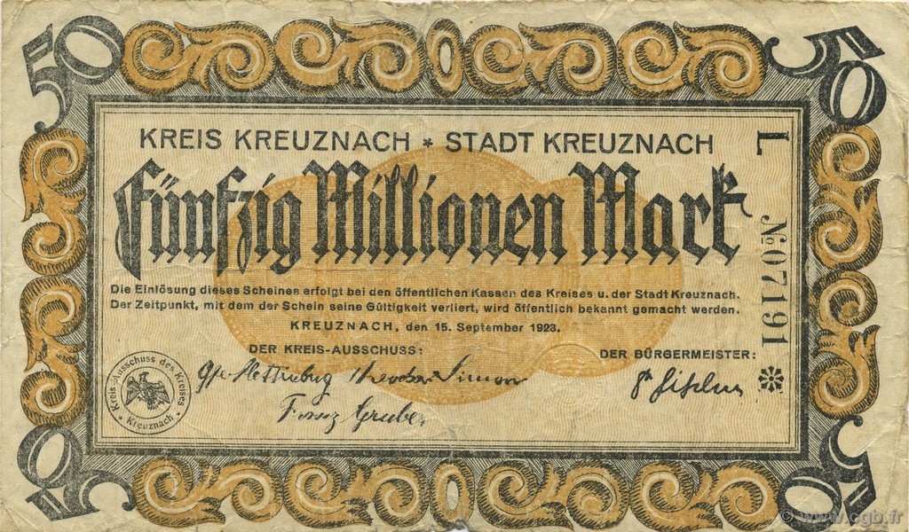 50 Millions Mark ALLEMAGNE  1923  TB+