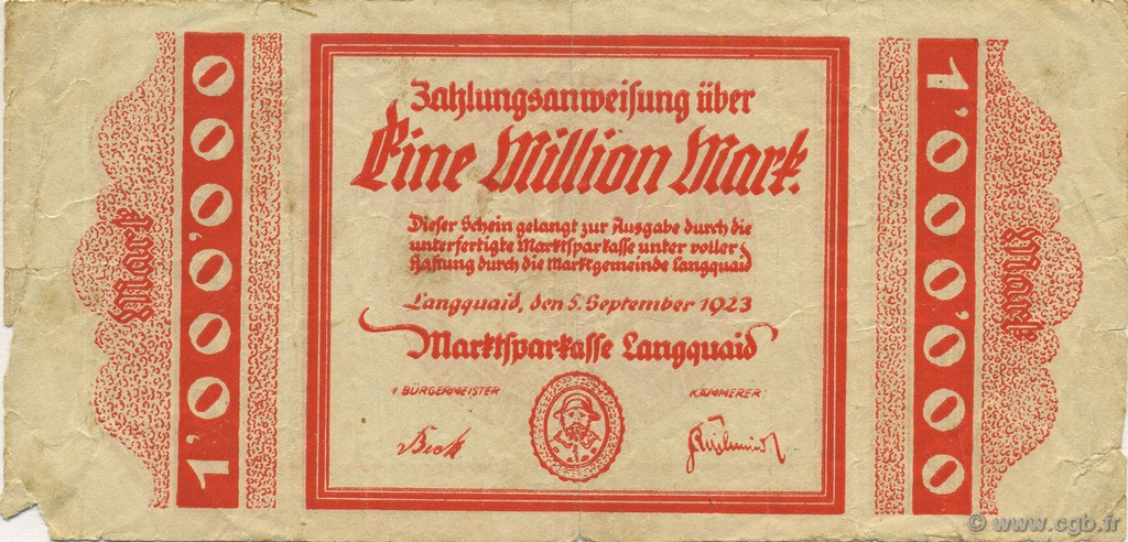 1 Million Mark ALLEMAGNE Langquaid 1923  TB