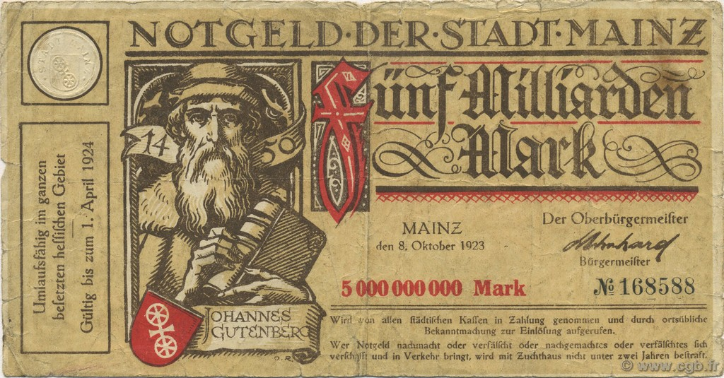 5 Milliards Mark ALLEMAGNE  1923  TB