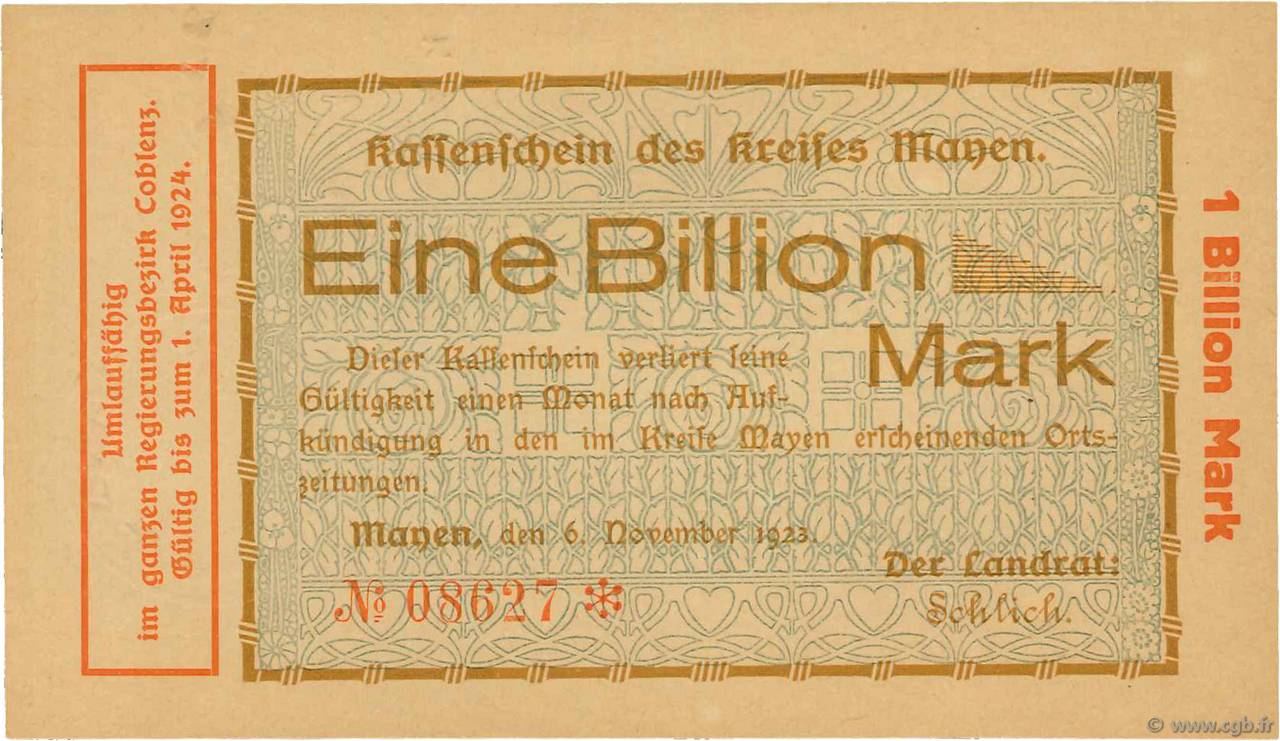 1 Billion Mark ALLEMAGNE  1923  pr.NEUF