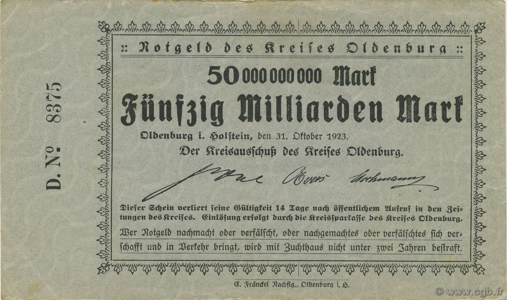 50 Milliards Mark ALLEMAGNE  1923  SUP