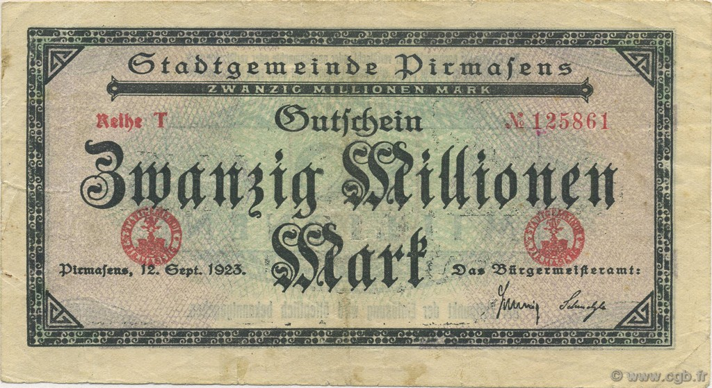 20 Million Mark ALLEMAGNE  1923  TTB