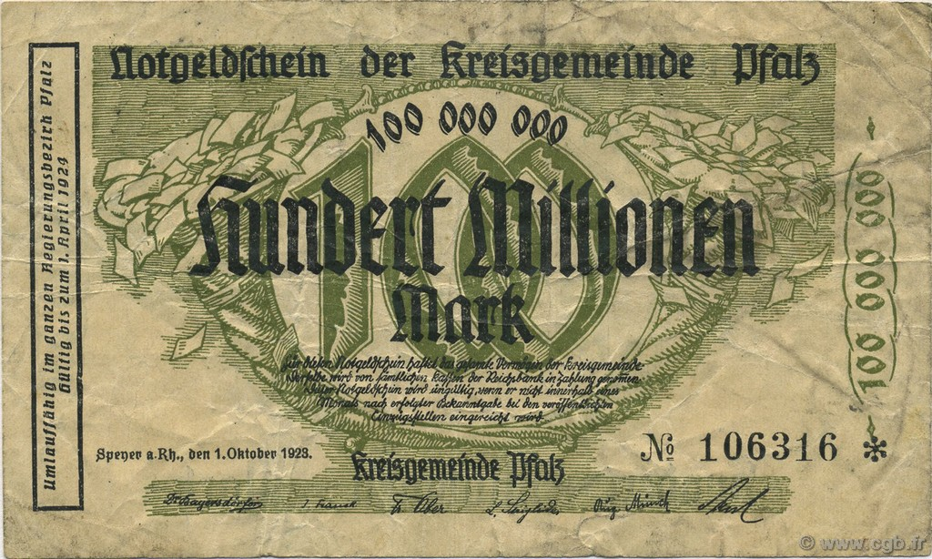 100 Millions Mark ALLEMAGNE Speyer 1923  TB